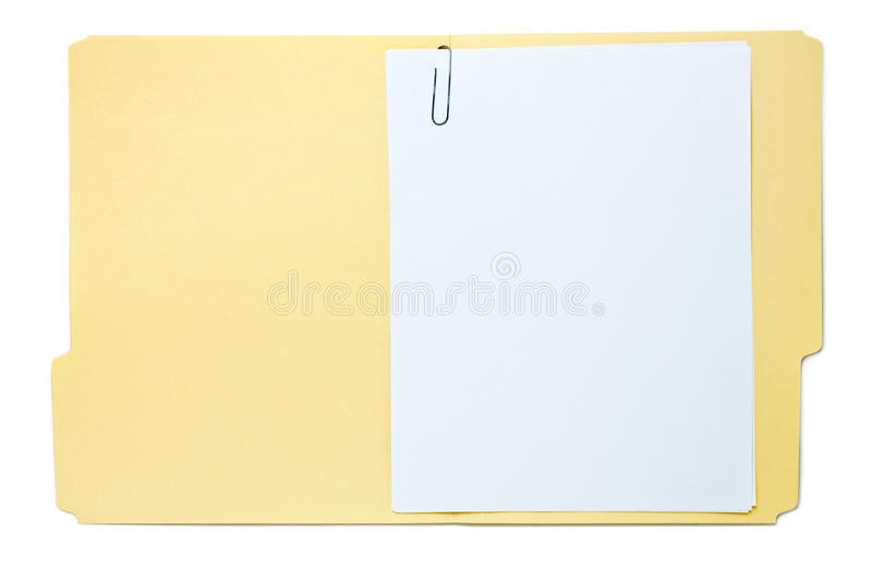 Folder With Paperwork Isolated On White Stock Image