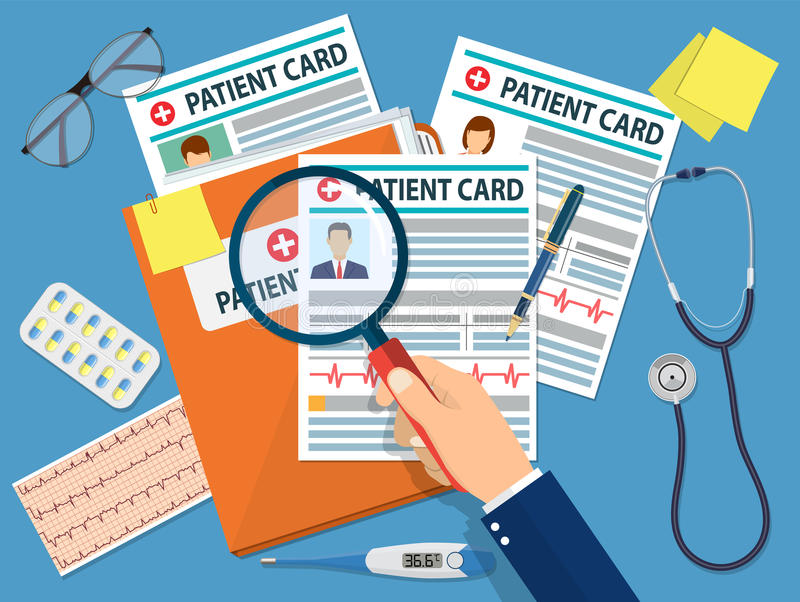 Folder with patient card. And doctors hand with magnifying glass. medical report. analysis or prescription concept. vector illustration in flat style stock illustration