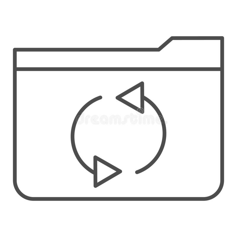 Folder refresh thin line icon. Update folder vector illustration isolated on white. Computer folder outline style design. Designed for web and app. Eps 10 vector illustration