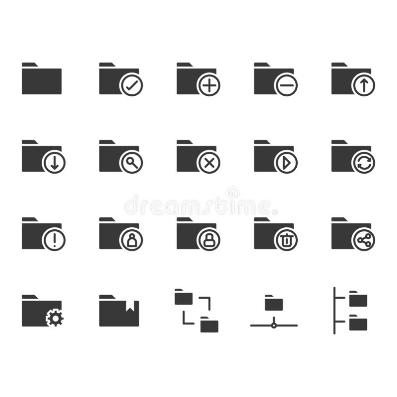 Folder related icon set. Vector illustration royalty free illustration