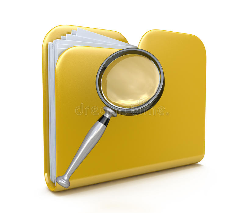 Folder search 3d icon royalty free stock photography