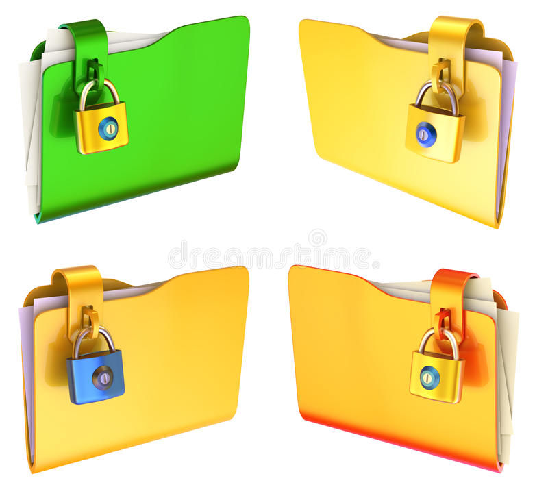 Folder. Set of colored folders for papers with a lock vector illustration
