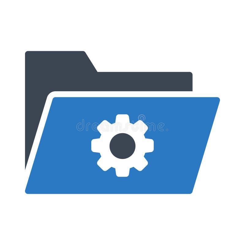 Folder setting glyph color vector icon stock illustration