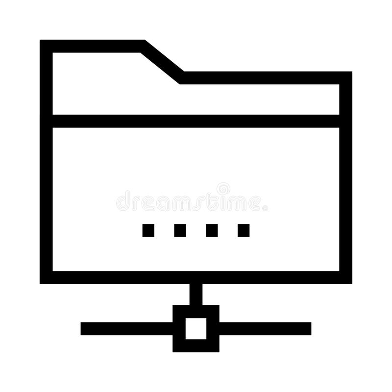 Folder sharing vector line icon stock illustration