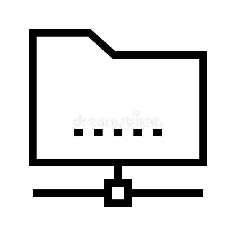 Folder sharing vector line icon stock illustration