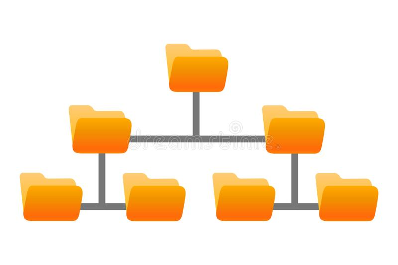 Folder structure, folders hierarchy stock illustration