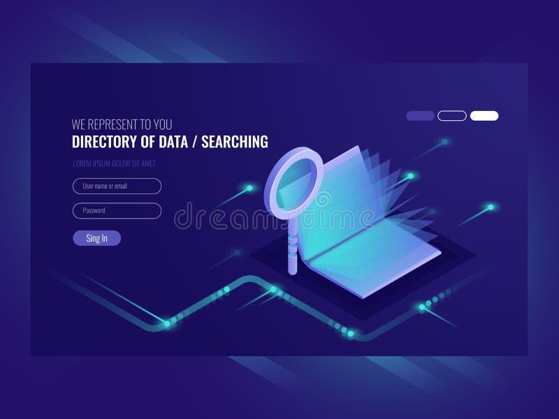 Folder van gegevens, informatie serching resultaat, boek met vergrootglas, zoekmachineoptimalisering, informatie royalty-vrije illustratie