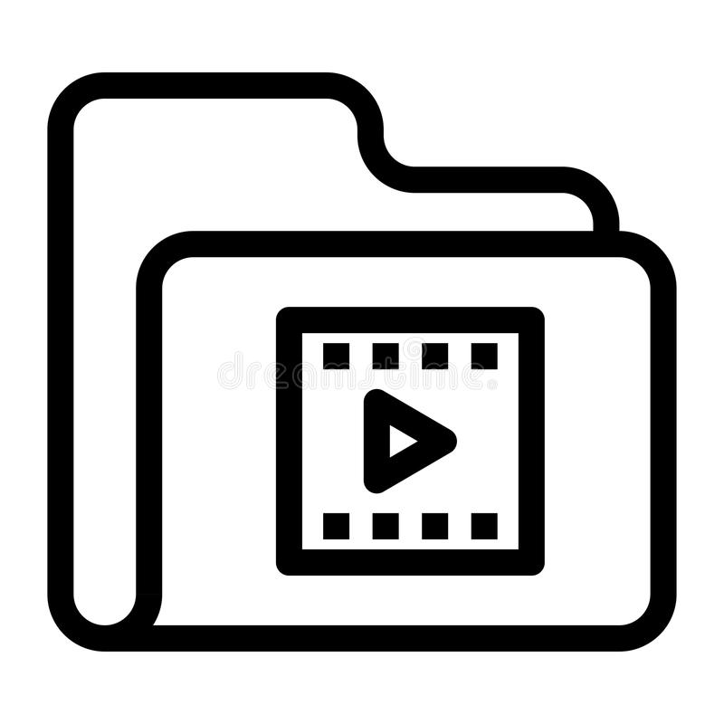 Folder video Line icon. Folder video icon. Elements for mobile concept and web apps. Thin line icons for website design and development, app development. Premium vector illustration