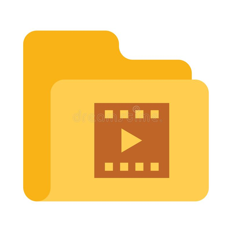Folder video play color VECTOR icon. Elements for mobile concept and web apps. Thin line icons for website design and development, app development. Premium vector illustration