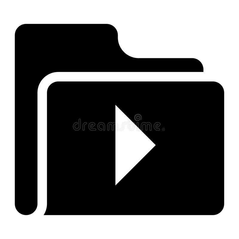 Folder video play glyphs icon. Elements for mobile concept and web apps. Thin line icons for website design and development, app development. Premium stock illustration