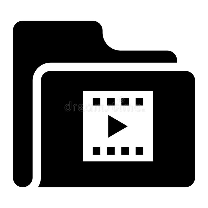 Folder video play glyphs icon. Elements for mobile concept and web apps. Thin line icons for website design and development, app development. Premium royalty free illustration