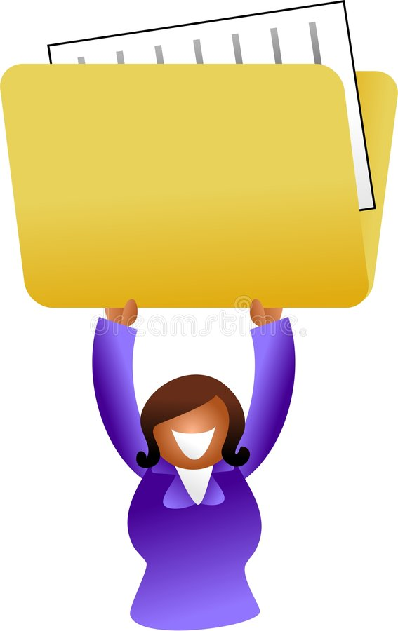 Folder woman. Ethnic woman holding up a folder containing files - icon people series stock illustration