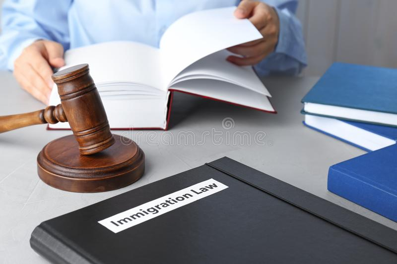 Folder with words IMMIGRATION LAW, gavel. And blurred person on background stock image