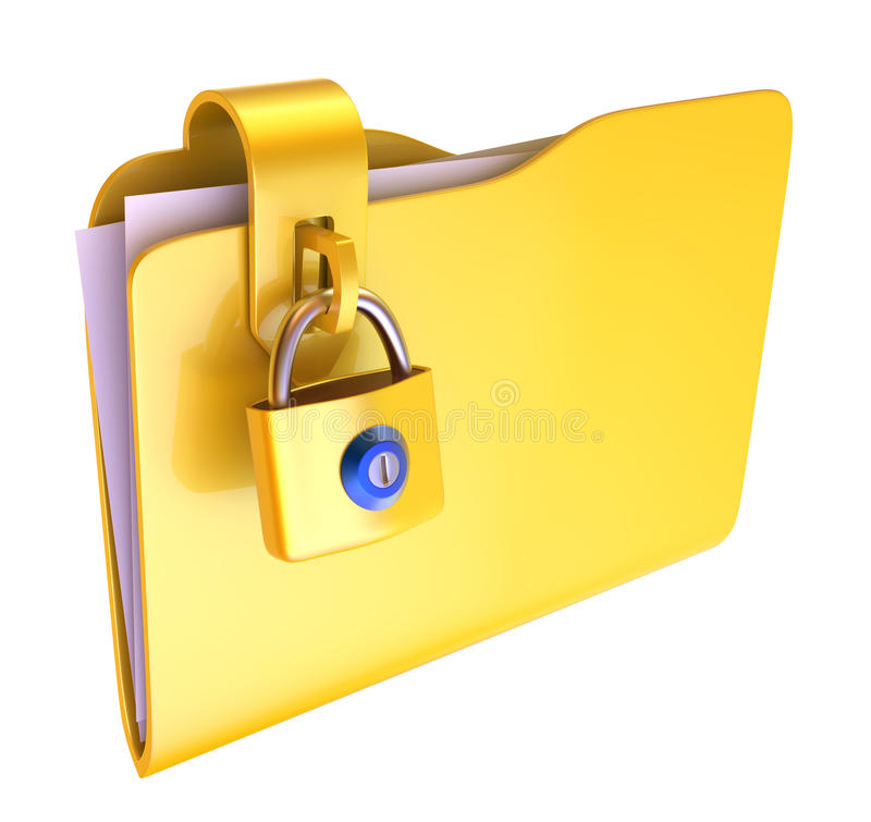 Folder. The yellow folder with hinged lock stock illustration