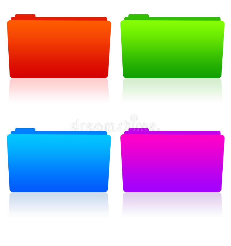 Folders. Office folders in different colors (resolution is high enough for the folders to be used separately stock illustration