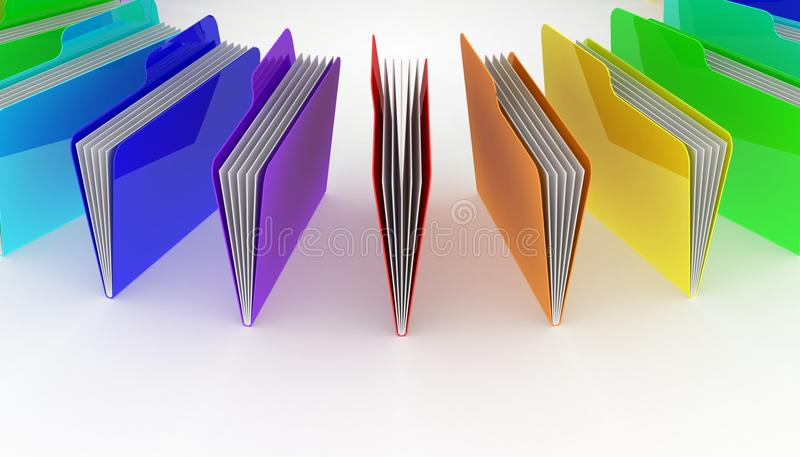 Folders. White background, 3d render royalty free illustration