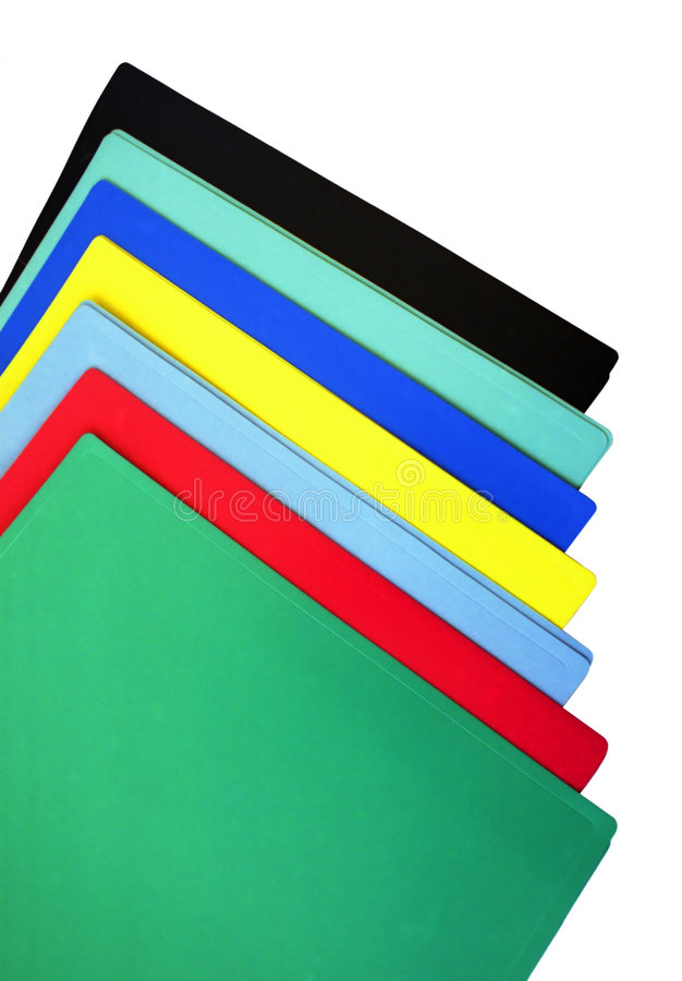 Folders. Stack of empty colored offoce folders royalty free stock photo