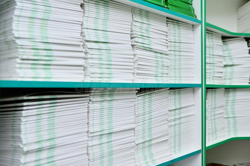 Folders with documents on the shelf in the office. Office background royalty free stock photos