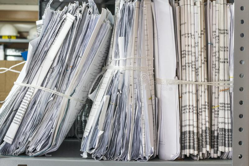 Folders of documents are stacked. Thick folders of documents are stacked for background royalty free stock images