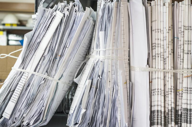 Folders of documents are stacked. Thick folders of documents are stacked for background stock images