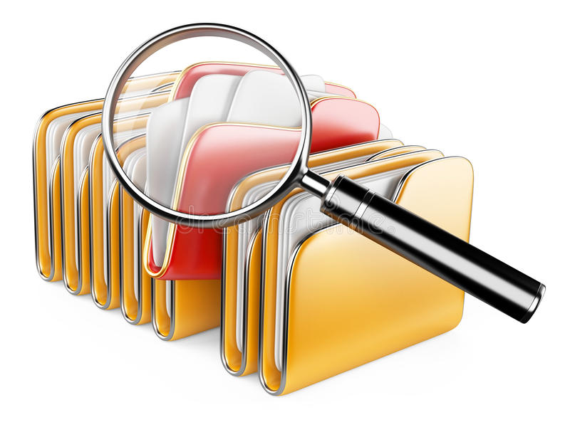 Download Folders And Files Search Icon - Folders Under The Magnifier. Stock Illustration - Image: 35643150