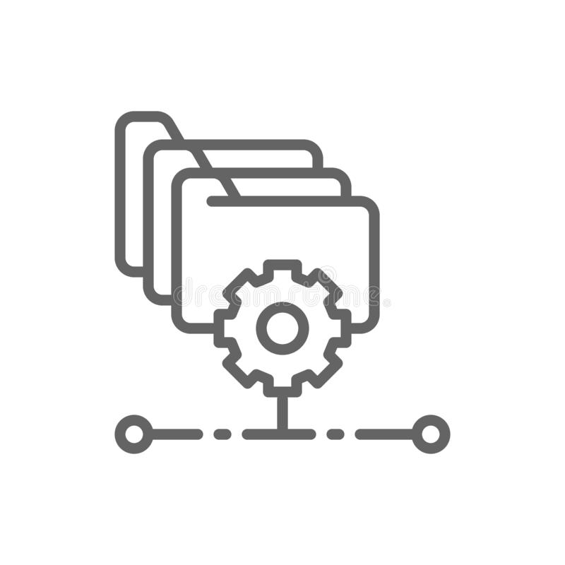 Folders with gear, project management, file setting line icon. royalty free illustration