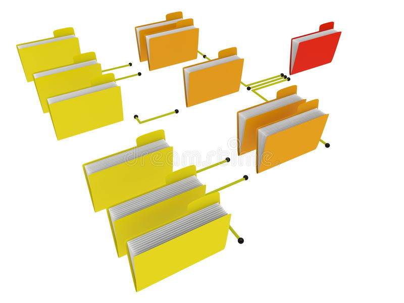 Folders hierarchy. Different levels of organization structure stock illustration