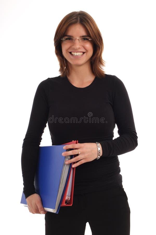 folders holding woman young στοκ εικόνα με δικαίωμα ελεύθερης χρήσης