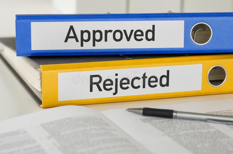 Folders with the label Approved and Rejected royalty free stock images