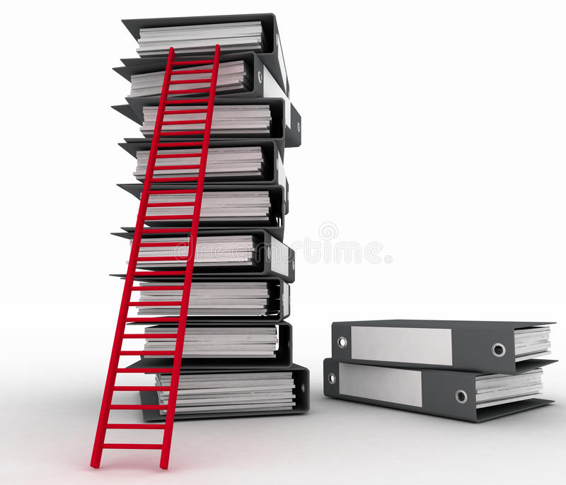Folders And Ladder. Royalty Free Stock Photo