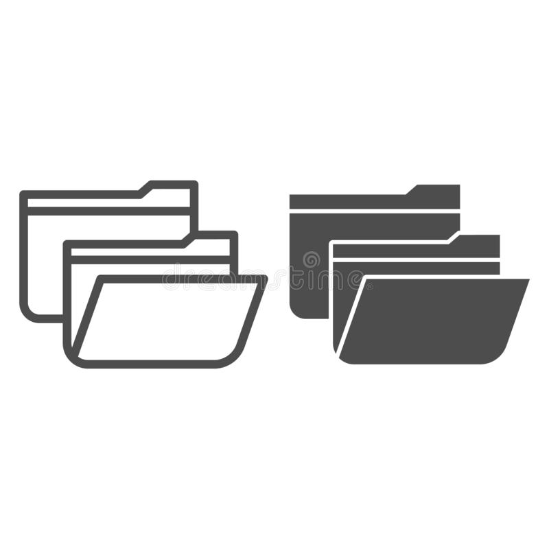 Folders line and glyph icon. Two file folders vector illustration isolated on white. Computer folder outline style. Design, designed for web and app. Eps 10 vector illustration