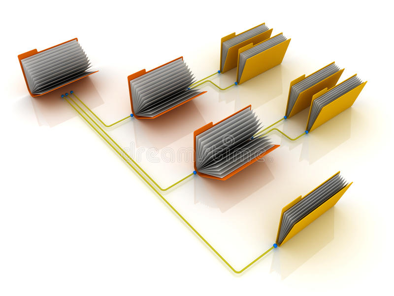 Folders on network. Folders connected together in a network. 3D render royalty free illustration