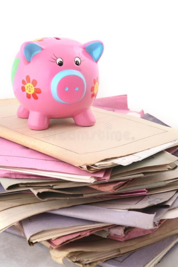 Folders with Piggybank royalty free stock photo