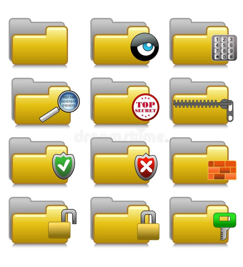 Folders Set - Security Applications Folders 06 stock photography