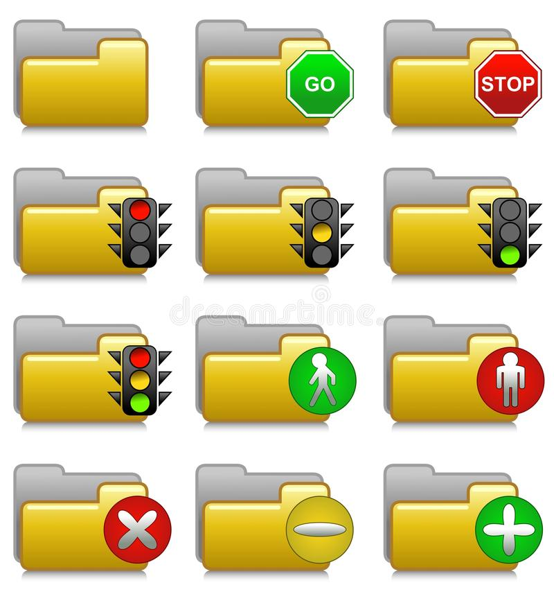 Folders Set - Stop and Go Applications Folders 15 royalty free stock photos