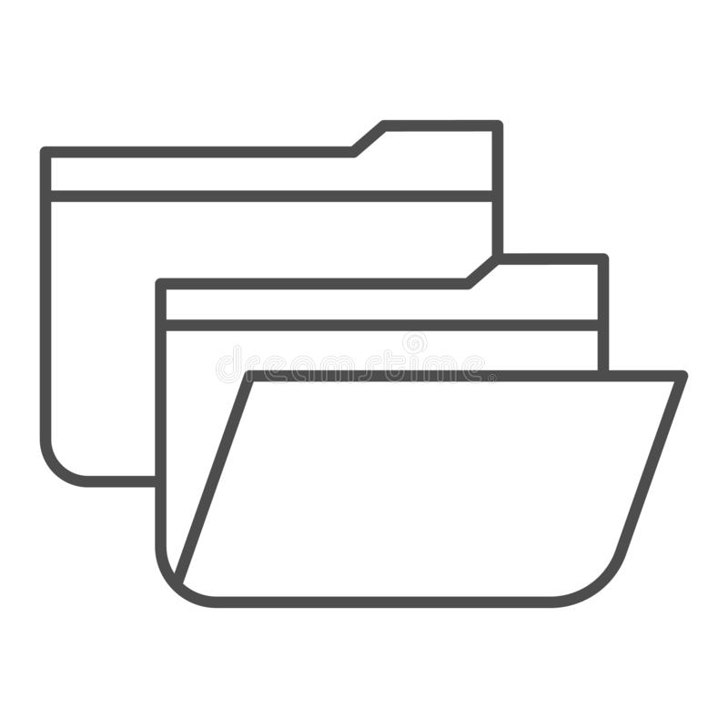 Folders thin line icon. Two file folders vector illustration isolated on white. Computer folder outline style design. Designed for web and app. Eps 10 vector illustration