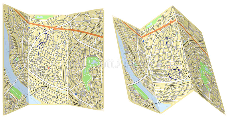 foldingöversikter stock illustrationer