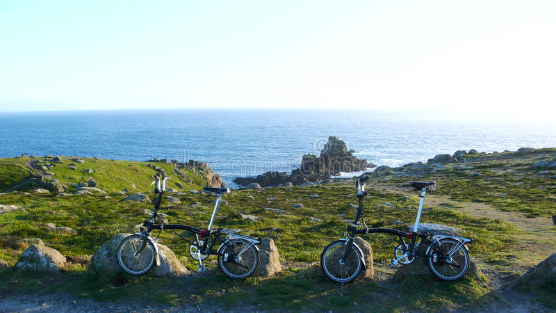 Folding bike in Lands End royalty free stock images