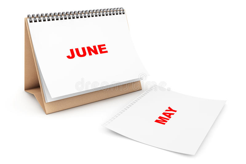 Folding Calendar with June month page. On a white background royalty free illustration
