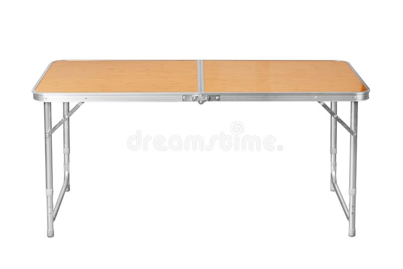 Folding camping table. Front view of folding camping table isolated on white royalty free stock image