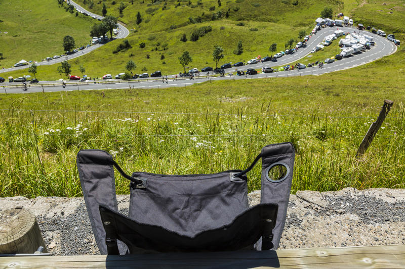 The Folding Chair of a Spectator - Tour de France 2014 royalty free stock photography
