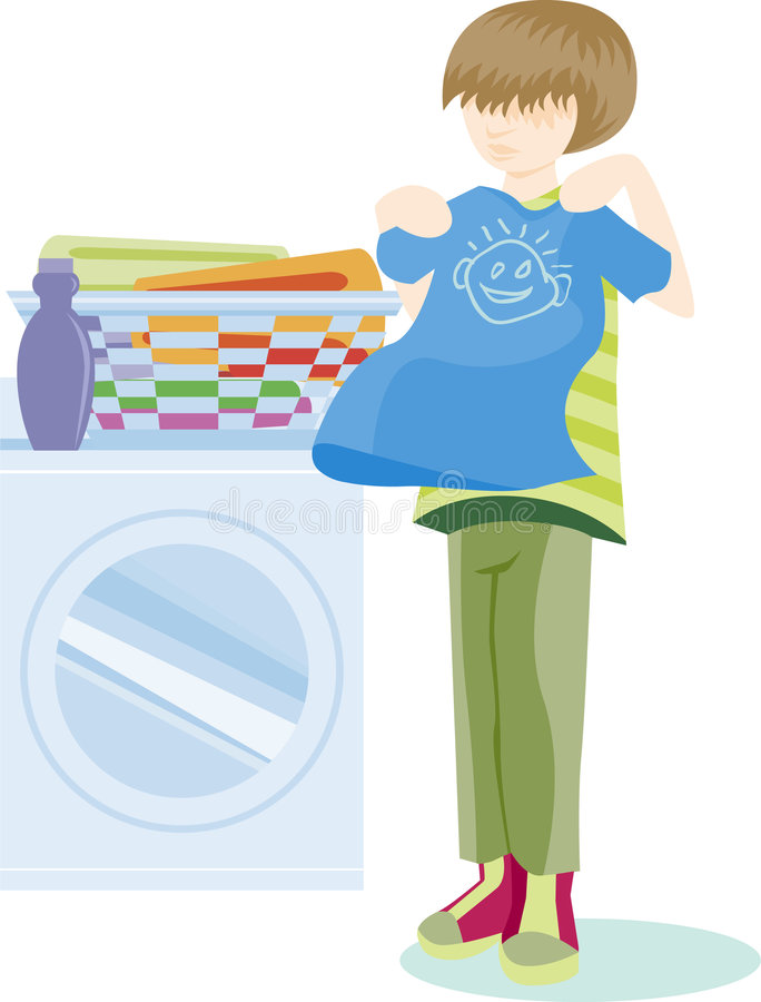 Folding Laundry vector illustration