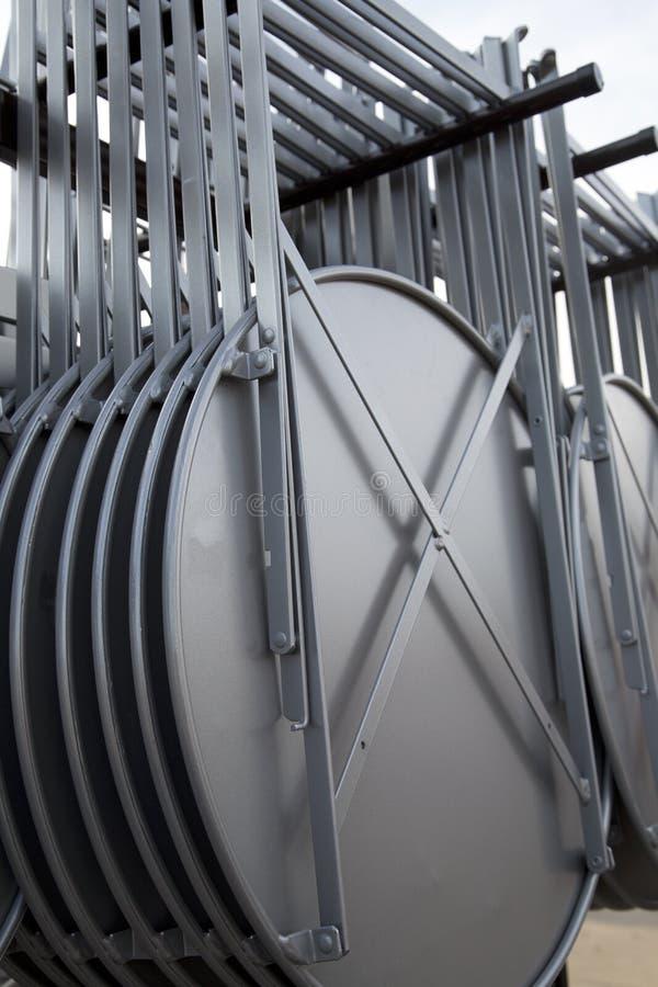 Folding metal tables. A folding metal tables background stock photography
