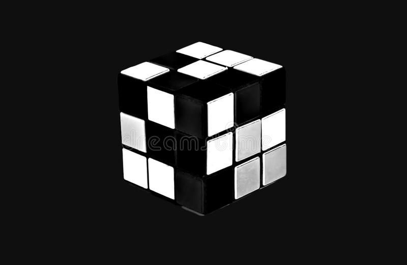 Folding multi-colored cube isolated. Style: abstraction, illustration, monochrome, neon.  vector illustration