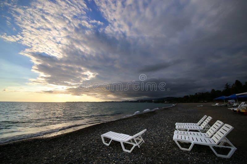 Folding sun loungers royalty free stock photos