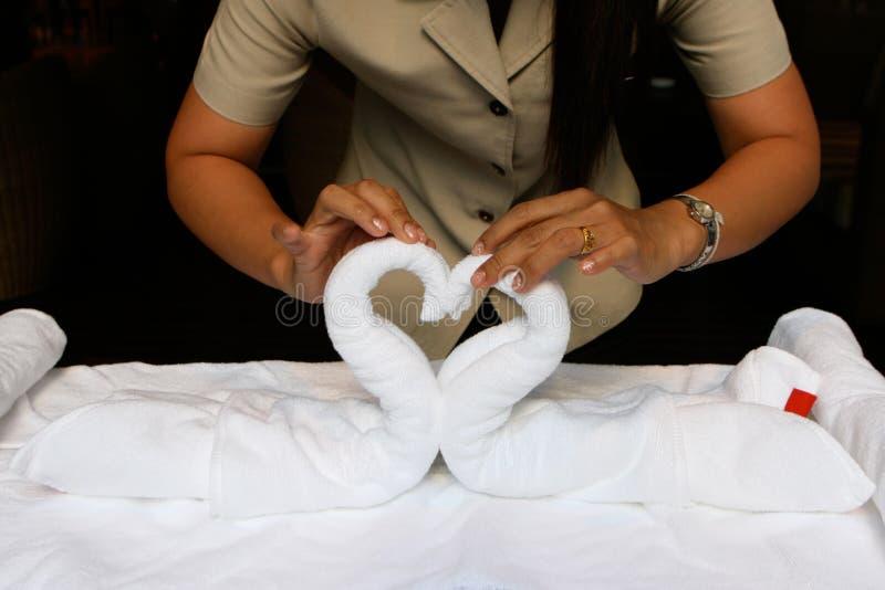 Folding towels royalty free stock image