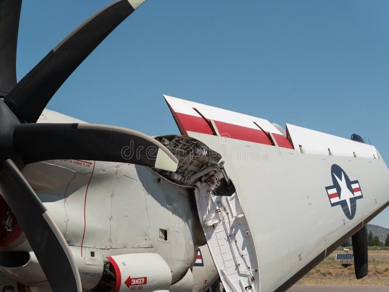 Folding wing, military aircraft stock photo