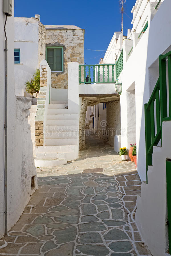 Folegandros Alley. An alley in the old section of Chora town, Folegandros island royalty free stock photos