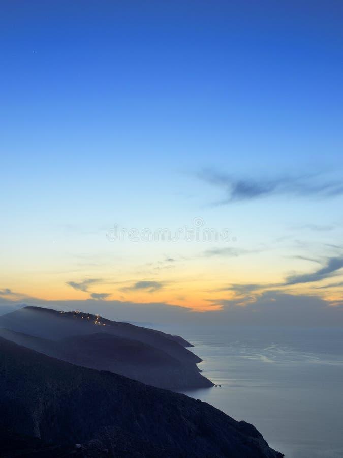 Folegandros at dusk. Cyclades island stock images