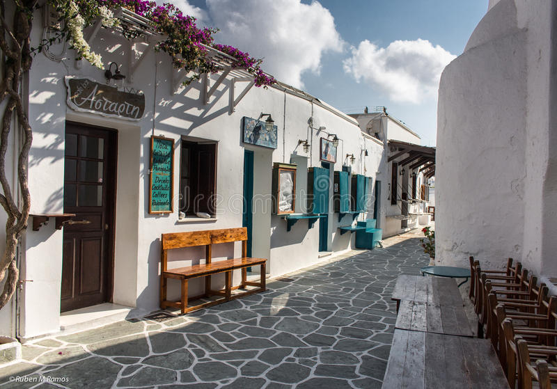 Folegandros, Greece - September 11, 2016:Pedestrian street in Folegandros, Greece. Cafes and bars on a pedestrian street in Folegandros, Greece stock photo